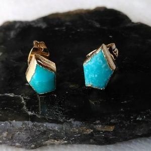 Genuine Turquoise Gemstone Stud Earrings